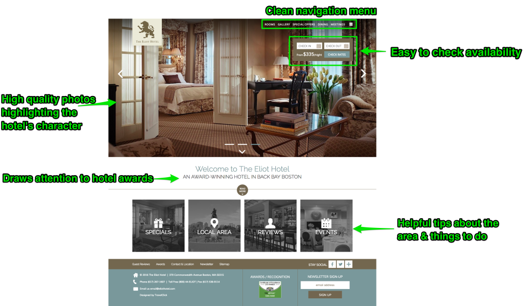 eliot hotel website design