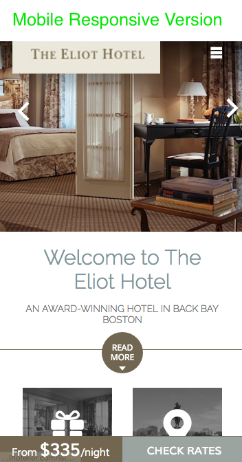 eliot hotel website design mobile